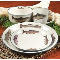 Trout Dinnerware Set - 16 pcs Sale $239.95 & Bissell Pet \u0026 Hand Vac Multi-Level Filter 97D5   Dinnerware Cabin ...