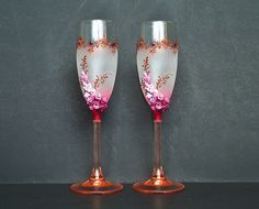 Bordeaux Wedding Champagne Glasses Toasting by JoliefleurDeco