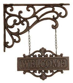Welcome guests with this old world cast iron sign. 'Welcome' Cast Iron Hanging Sign . Primitive Garden Decor, Jugendstil Design, Wrought Iron Decor, Iron Furniture, Iron Art, Pergola Shade, Black Pergola, Country Crafts, Hanging Signs
