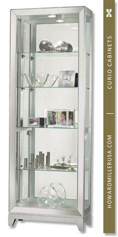 New Howard Miller Shayne Curio/Display Cabinet online - Annetrendyfashion Metal Shelves, Glass Shelves, Wine Bar Cabinet, China Cabinet, Hutch Makeover, Howard Miller, Miller Homes, Accent Furniture, Painted Rocks