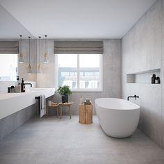Concrete Bathroom, Bathroom Spa, Bathroom Interior, Bathroom Faucets, Contemporary Bathrooms, Modern Bathroom, Minimalist Bathroom, Dream Bathrooms, White Bathrooms