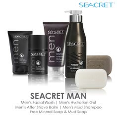 The SEACRET Man line is perfect for the guys in your life!  #skincare #bestskincare #seacret www.seacretdirect.com/candacechacon