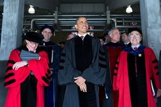 President Barack Obama joins The Ohio State University President E. Gordon Gee, left, and others in the processional before the start of commencement at Ohio Stadium in Columbus, Ohio, May 5, 2013. (Official White House Photo by Pete Souza)
