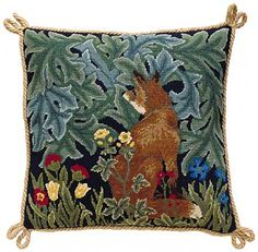 Unbelievably rich in color and texture. Nostalgic, too... This is such a nice pillow. Beth Russell Needlepoint - Forest Collection - Fox Cushion - Kit