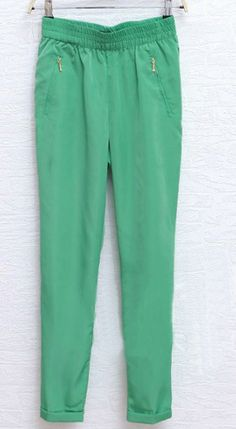 Green Zip Pockets Turn Back Tapered Pants