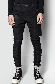 Men's black waxed stretch cotton memphis jeans leggings from the AW17/18 collection from Rick Owens DRKSHDW.