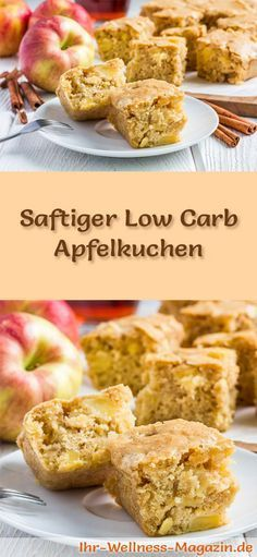 Rezept für einen saftigen Low Carb Apfelkuchen: Der kohlenhydratarme Kuchen wird ohne Zucker und Getreidemehl gebacken. Er ist kalorienreduziert, ...