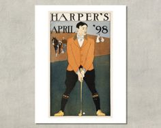 The Golfer - Harpers Cover Art by Edward Penfield,  1898 - 8.5x11 Poster Print - also available in 11x14 and 13x19 - see listing details