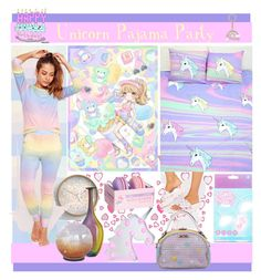 """""""Unicorn Pajama Party"""" by yours-styling-best-friend ❤ liked on Polyvore featuring interior, interiors, interior design, home, home decor, interior decorating, TheWhiteBrand, Sugarpills, Missguided and Kosta Boda"""