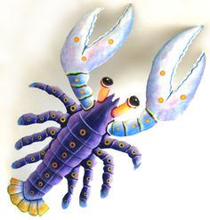 Purple Lobster Wall Hanging - Hand Painted Metal - Tropical Decorating – Painted…