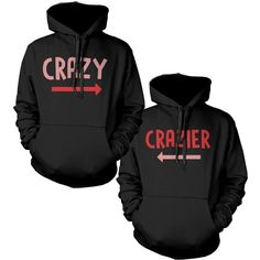 Funny Crazy and Crazier Cute BFF Matching Best Friend Hoodies Front... (£49) ❤ liked on Polyvore featuring tops