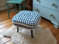 Handmade crochet cover for upcycled fifties footstool