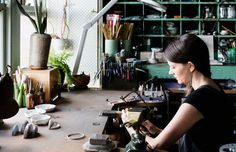 Abby Seymour at her jewellers work bench