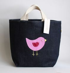 pink bird denim tote