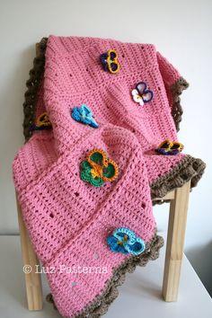 Crochet patterns, Baby blanket crochet pattern pansy flower baby blanket pattern (137) INSTANT DOWNLOAD