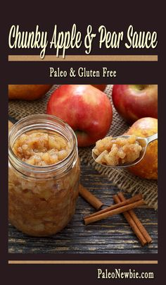 Best easy paleo recipe for sweet and spicy chunky apple-pear sauce. Ready to serve warm in just 20 minutes. No refined sugars - sweeten with honey if needed. Paleo Apple Crisp, Apple Crisp Recipes, Paleo Sweets, Paleo Dessert, Paleo Food, Healthy Food, Healthy Deserts, Paleo Recipes Easy, Cooking Recipes