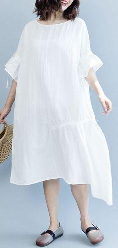 7604e59a62 women white long cotton linen dress plus size O neck drawstring caftans top  quality Petal Sleeve baggy dresses. SooLinen. Pretty Summer ...