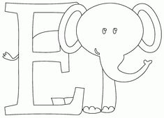 This picture is of E is for Elephant Animal Alphabet, S Alphabet, Preschool Alphabet, Looney Tunes, Letter A Coloring Pages, Precious Moments Coloring Pages, Alfabeto Animal, Elephant Coloring Page, Elephant Colour