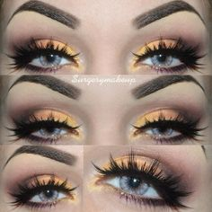 Yellow spring time look By: @ surgerymakeup