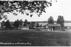 White Lake Villa, probably in the early 1930s.  The Villa itself is mostly hidden off to the right, the homestead (corner of Lake  Main Street) to the left, the Middle House in the middle, of course.