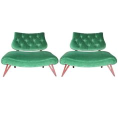 Pair of Grosfeld House Hollywood Regency Slipper Chairs | From a unique collection of antique and modern slipper chairs at http://www.1stdibs.com/seating/slipper-chairs/