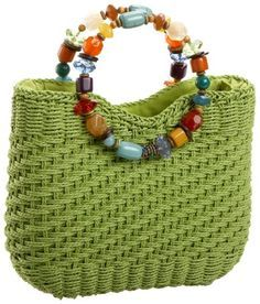 Cappelli Ring Bead Handle Tote,Lime,one size Crochet Handbags, Crochet Purses, Cute Crochet, Knit Crochet, Tote Bags Handmade, Macrame Bag, Diy Embroidery, Knitted Bags, Crochet Accessories