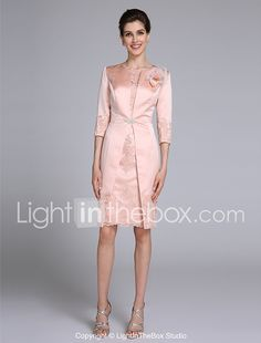 Sheath / Column Jewel Neck Knee Length Satin Mother of the Bride Dress with Appliques Flower(s) Crystal Brooch by LAN TING BRIDE® 2017 - $129.99