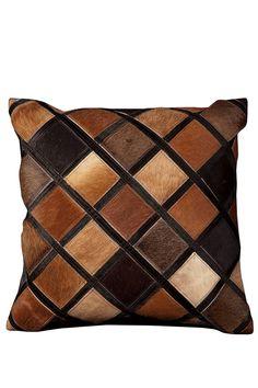Nourison  Multi Brown Diamond Cowhide Pillow - Multi - 20in. x 20in.