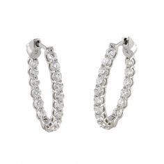 1.68 Carat Diamond Hoop Earrings
