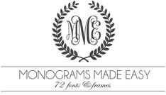 Monograms Made Easy: 72 Fonts & Frames - most of these are free, the ones for sale are identified with pink numbers.