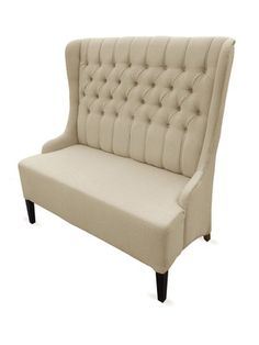Francisco Beige Linen Modern Loveseat Bench   Measures 41½ inches in width by 23 inches in depth by 47¼ inches in height