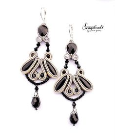 Hand embroidered chandelier soutache earrings in black gray