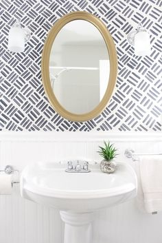 Bathroom Makeover {The Full Before & After} with free handed wallpaper look paint.Small Bathroom Makeover {The Full Before & After} with free handed wallpaper look paint. Wallpaper Accent Wall Bathroom, Powder Room Wallpaper, Of Wallpaper, Trendy Wallpaper, Geometric Wallpaper, Wallpaper Ideas, Wainscoting Bathroom, Half Bathroom With Wallpaper, Wainscoting Ideas