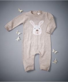 Unisex Welcome To The World Knitted Bunny Romper: Mamas & Papas