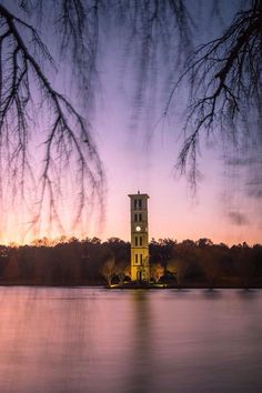Furman University at the Bell Tower at sunset in Greenville, SC
