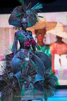 Haiti's Fashion Week 2nd Edition 2013. Fashion theme the environment this creation by Haitian designer Maelle Figaro David.