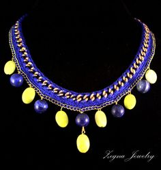 Lapis Lazuli and Lime Jade Chain Necklce Crochet by ZegnaJewelry