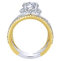 18k Yellow/white Gold Diamond  And Sapphire Halo Engagement Ring | Gabriel & Co NY | ER12189R4M83SA