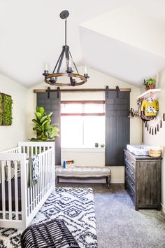 A non-traditional color scheme inspired by the Pacific Northwest gives Desiree Hartsock's nursery a cozy, masculine feeling - perfect for her baby boy. Click to see how Monica of East Coast Creative strikes the balance between cute and sophisticated!