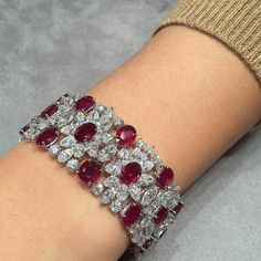 Harry Winston. ChristiesJewels. repost from @gemmlisaw @connieluk_christies Adoring this elegant Burmese unheated ruby and diamond bracelet, by #HarryWinston #ChristiesJewels #PigeonBlood #lifestylesaemagazine
