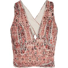 Alice + Olivia Chia cropped printed georgette top ($395) ❤ liked on Polyvore featuring tops, shirts, floral crop top, pink crop top, paisley shirt, boho tops and crop top
