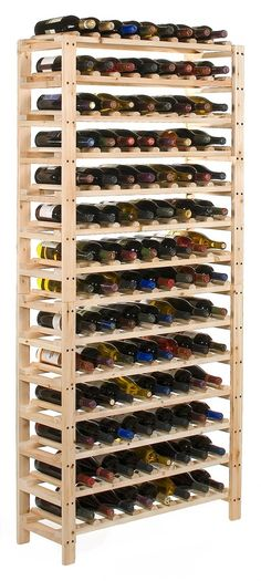 DIY Wine Rack- link doesn't work, but looks like one you could figure out  Gotta Make this for all my wine but gonna not make it so tall, instead gonna add a wine glass holder on top