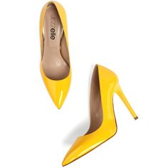 Jezzelle Yellow Patent Pumps ($210) ❤ liked on Polyvore featuring shoes, pumps, heels, heel pump, high heel pumps, yellow pumps, high heel court shoes and slip on shoes