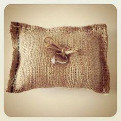 Burlap wedding ring bearer pillow.