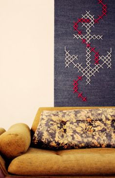 Cross-stitch wall art anchor