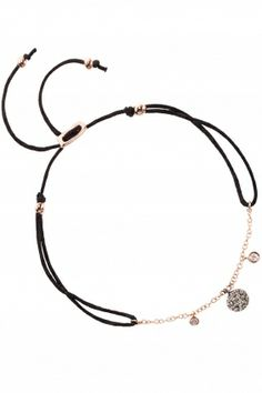 black cord bracelet with rose gold elements & #diamonds I designed by meira t I NEWONE-SHOP.COM