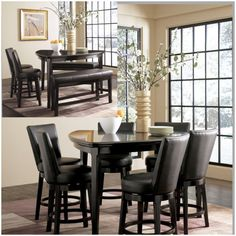 Emory counter height table and four chair set uses subtle curves and a rich contemporary design to create a comfortable furniture collection that is sure to enhance the atmosphere of any dining experience. The rich dark brown finish, flowing smoothly over the subtle curves, is beautifully complemented by the light comfortable upholstery fabric creating a warm inviting design perfect for any home decor.