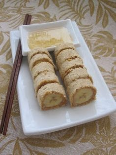 Banana Sushi - whole wheat bread, bananas, peanut butter and a honey dipping sauce.  Fun snack for kids!!