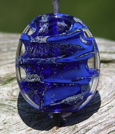 Cobalt Blue and Fine Silver Handmade Lampworked Glass by ninaeagle, $19.99