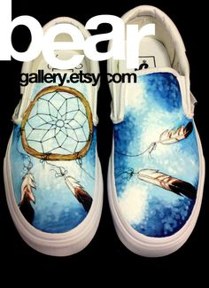 Custom Shoes  Dream Catcher by beargallery on Etsy, $135.00....need to incorporate items such as dream catcher in my zentangle shoes